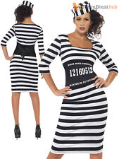Adults Classy Convict Costume Ladies Sexy Prisoner  Fancy Dress Jailbird Outfit