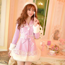 Sweet Coat Jacket Overcoat Purple Lolita Princess Slim Lace Bowknot Woolen Long
