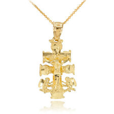 10k Gold Caravaca Crucifix Cross Charm Pendant Necklace Good Luck Fortune Health