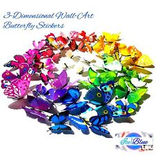 Butterfly Wall Stickers 12pc & 36pc 12 colours mural art home decor butterflies