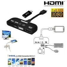 5 in1 Universal OTG & MHL Adapter HDMI USB Micro SD HDTV Connection Kit HD New
