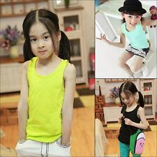 Summer Kids Girls Boys Casual Plain Vest Toddler Sleevless Tank T-shirt Tee Tops