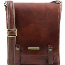 TUSCANY LEATHER shoulder crossbody bag for men with front straps made in Italy