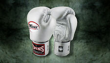 MUAY THAI KICK BOXING GLOVES TWINS SPECIAL MMA 8 10 12 14 16 18 OZ BGVL-3 SILVER