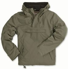 SURPLUS WINDBREAKER HOODED WATER-RESISTANT ARMY STYLE JACKET FLEECE LINED OLIVE