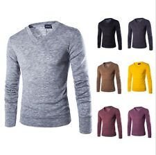 Men Bottoming sweaters High quality plush rabbit sweaters solid 7 colors V-Neck