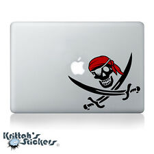 Jolly Roger Pirate Skull with Red Bandana Vinyl Decal - fits laptop sticker K599