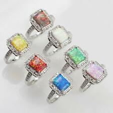 925 Sterling Silver Fashion Diamond Square Cubic Simulated Opal Womens Ring W8R7