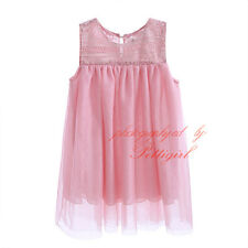 Girl Lace Flower Tulle T-shirt Sleeveless Toddlers Baby Kids Summer Top Blouse
