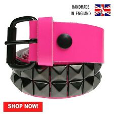 38mm F.Pink Black Pyramid 100% Real Leather Made In England Press Stud Belt