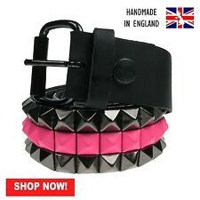 38mm Black & Pink Pyramid 100% Real Leather Made In England Press Stud Belt