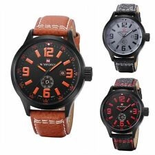 Leather Band Stainless Steel Sport Date Analog Quartz Women Mens Wrist Watch