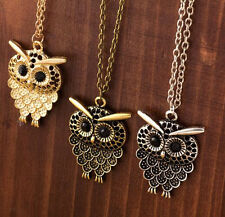 Women Vintage Cute Bronze Owl Pendant Long  Chain Necklace Jewelry Gift New CH