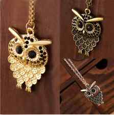 Women Vintage Cute Bronze Owl Pendant Long  Chain Necklace Jewelry Gift New H