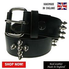 38mm Cross Spike Studded Press Stud Handmade Real Leather Belt Made In England