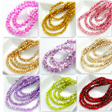 New Colors 100pcs Rondelle Faceted Crystal Glass Loose Spacer Beads 4mm