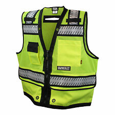 DEWALT DSV521 CLASS 2 HEAVY DUTY SURVEYOR VEST HIGH VISIBILITY GREEN ANSI