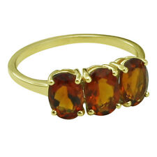 Solid Gold Madeira Citrine Three Stone Ring GSR390