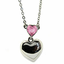 Light Rose Heart Pendant Necklace made with SWAROVSKI® Crystals