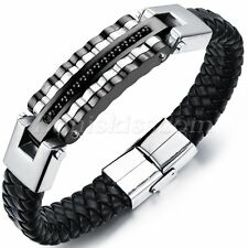 Men's Biker Leather Stainless Steel Magnetic Bracelet Bangle Cuff High Quality