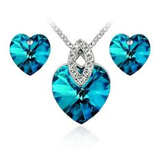 18k Gold Plated Crystal Swarvoski Elements Heart Jewellery Set for Wedding Party