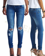 New Womens Skinny Jeans Ladies Distressed Bleach Ripped Knee Female Slim Casual