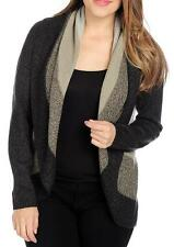 NEW OSO Casual Marled Knit Long Sleeved Striped Open Front Circle Cardigan S M L