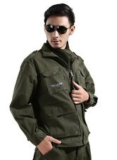 Men Army green turnneck Coat + trousers 2-pcs camo suit outdoor Sports clothes