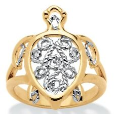 PalmBeach Filigree Turtle Ring in 18k Gold-Plated Tailored. Brand New