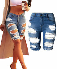 New Womens Denim Street Shorts Beggar Hole Ripped Jeans Shorts Fit Stretchy