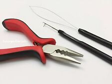 Feather Hair Extension Tool Kit for Micro Hair Beads Loop Hook Pliers I Tip USA