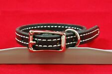 """STITCHED LEATHER COLLAR DOG CAT 5/8"""" CUSTOM SIZE 1/2"""" 3/4"""" 5 COLORS AVAILABLE"""