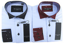 Formal Shirt Boys White Long Sleeved shirt With Polka Dot Collar & Cuffs 1Y-15Y