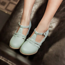 Korean Womens Cute Vintage Ankle Strap Summer Sandals Pumps Shoes Kitten Heels