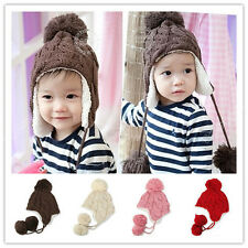 Toddler Kid Ear Flap Beanie Cap Crochet Knit Hats Winter Baby Infant Boy Girl 29
