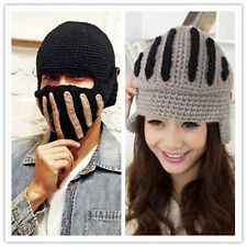 Winter Women Men Buttons Crochet Knit Ski Beanie Cap Warm Wool Roman Knight Hat