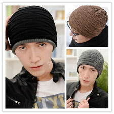 Mens Women Crochet Knit Plicate Baggy Ski Beanie Wool Hat Double Side Cap New 46
