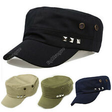 Fashion Plain Vintage Army Military Cadet Style Cotton Cap Hat Adjustable New 63