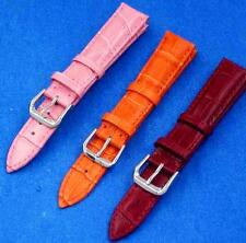 New 12mm 14mm 16mm 18mm 20mm 22mm 24mm Orange Red Pink Leather Watch Band Strap