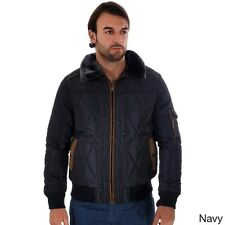 Rock Revolution Men's Quilted Fur-lined Zip-up Pilot Jacket W/ Fur Collar, Pocke