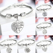 2016 Love Gifts Women Family Beads Bracelet Charm Party Words Fashion Bangle