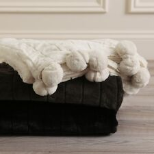 Aurora Home Luxe Mink Faux Fur Pom Throw Blanket. Shipping Included