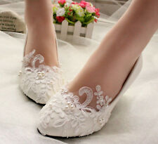 Ivory Pearl Wedding Lace Bridal Bridesmaid Flat High Low Heels shoes size 5-12