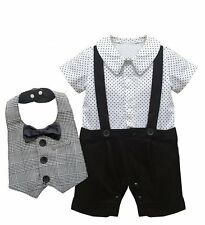 Baby Boy Wedding Christening Formal Party Tuxedo Outfit+Bibs Suit Clothes Set