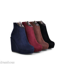 Womens Wedge Heel Shoes Platform Suede Fabric Round Toe Ankle Boots AU Size O545