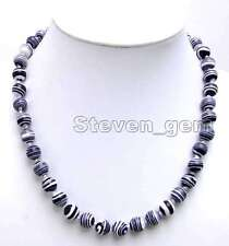 "SALE Charming 6mm Black Round zebra stripe agate 17"" Necklace -nec5611"