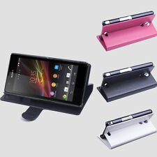 """Folio Stand Leather Case Cover Skin For 4.6"""" Sony M36h Xperia ZR 3G Smartphone"""