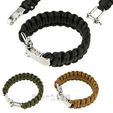 New ParaCord Rope Outdoor Survival Bracelet Camping Steel Shackle Buckle 7-Stand