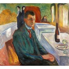 Edvard Munch - Self Portrait With A Bottle Of Wine 1906 Art Vintage-Style Poster