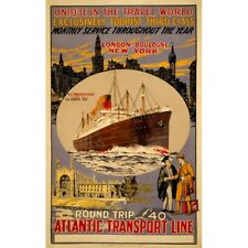 Atlantic Transport Line Travel Advertisement Vintage-Style Poster